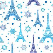 Vector Blue White Eifel Tower Paris And Snowflakes Seamless Repeat Pattern. Perfect For Holiday Trav poster