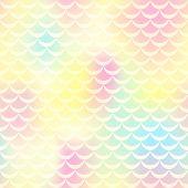 Постер, плакат: Yellow Pink Mermaid Vector Background Pastel Iridescent Background Fish Scale Pattern Mermaid Sea