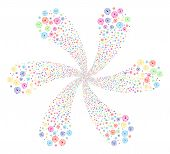 Bright Solar System Swirl Flower Cluster. Suggestive Cycle Done From Random Solar System Items. Vect poster