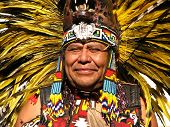 stock photo of indian chief  - A portrait of an Aztec Tribal Elder at local gathering - JPG