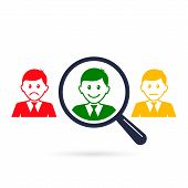 Search Positive People Employee Concept. Magnifier With Positive And Negative Man. Vector Illustrati poster