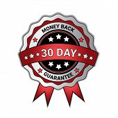 Money Back In 30 Days Guarantee Medal Isolated Template Seal Icon Vector Illustration poster