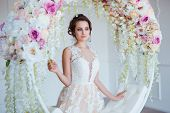 Beautiful Young Woman With Stylish Brunette Hair And Elegant Dress Posing In Luxury White Classic Ro poster