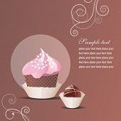 Vector greeting card with pink cake and sweet