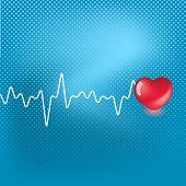 Постер, плакат: Сердца и сердцебиение символ на синем фоне