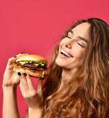 Woman Hold Barbecue Burger Sandwich With Hungry Mouth On Pink Red Background. Closeup Composition Of poster