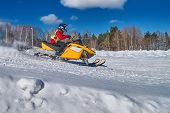 Sports Snowmobile Is Rushes At High Speed From Slope. Yellow Car For Extreme Winter Sports. Concept  poster