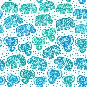 Beautiful Seamless Pattern Indian Elephant With Polka Dot Ornaments. Hand Drawn Ethnic Tribal Decora poster