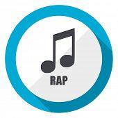 Rap music blue flat design web icon poster