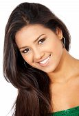 image of casual woman  - beautiful casual fashion woman portrait with a hispanic look smiling  - JPG