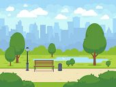 City Summer Park With Green Trees Bench, Walkway And Lantern. Town And City Park Landscape Nature. C poster