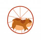 Cute Cartoon Hamster Character Running In Wheel, Funny Brown Rodent Animal Pet Vector Illustration I poster