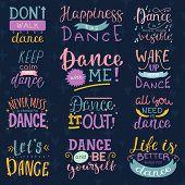Dance Lettering Vector Dancing Sign And Dancer Typographic Print Illustration Set Of Inspirations Fo poster
