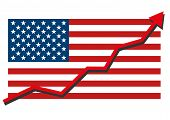 American Usa Flag With Red Arrow Graph Going Up Showing Strong Economy And Shares Rise. Profit And S poster