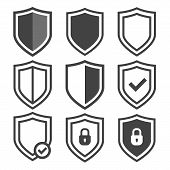 Vector Shield Icon Set. Security Vector Icons. Protection Logos. Shield Vector Icon Collection. Сryp poster