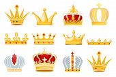 Crown Vector Golden Royal Jewelry Symbol Of King Queen And Princess Illustration Sign Of Crowning Pr poster