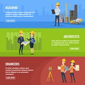 Illustrations For Banners Of Builders Architects And Engineers. Vector Architect And Engineer Constr poster