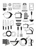 Monochrome Illustrations Of Kitchen Tools. Vector Silhoette Of Restaurant Utensil. Kitchen Tool And  poster