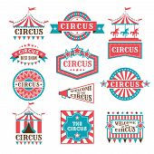 Old Badges And Labels For Carnival And Circus Show Invitation. Monochrome Vector Logos. Show And Fes poster