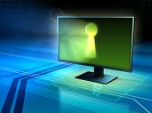 Computer monitor with a keyhole. 3D illustration. poster