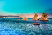 Vietri Sul Mare - Where Amalfi Coast Begins. Picturesque Summer Seascape With 3 Rocks On Water, 2 Em poster