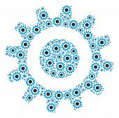 Cogwheel Pattern Constructed In The Collection Of Cogwheel Pictograms. Vector Iconized Composition C poster