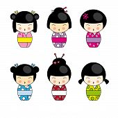 image of cute little girl  - Kokeshi dolls in various designs isolated on white - JPG