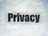 Privacy Concept: Painted Black Text Privacy On Digital Data Paper Background With   Tag Cloud poster
