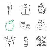 Fitness Linear Icons Set. Leggings, Floor Scales, Stopwatch, Apple, Kettlebells, Bicep Muscle, Weigh poster