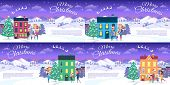Merry Christmas Set Of Postcards With Happy Families Near Houses. Vector Illustration Of Decorated C poster