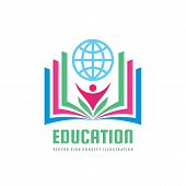 Education - Vector Logo Template Concept Illustration In Flat Style Design. Learning Book Sign. High poster