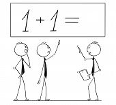 Cartoon Stick Man Drawing Conceptual Illustration Of Business Team Or People Working On One Plus One poster