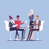 Businessmen And Businesswomen Having Coffee Break Vector Flat Illustration. Group Of Business People poster