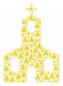 Christian Church Collage Composed In The Figure Of Christian Church Pictograms. Vector Iconized Comp poster