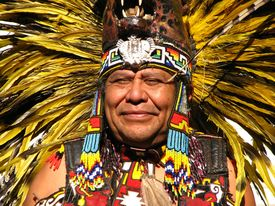 foto of indian chief  - A portrait of an Aztec Tribal Elder at local gathering - JPG