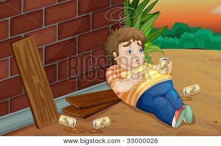 Illustration of a homeless drunk man