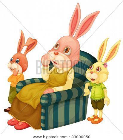 Ilustração de um coelho de mãe e seus filhos