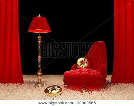 Luxury Armchair With  Standard Lamp In Interior