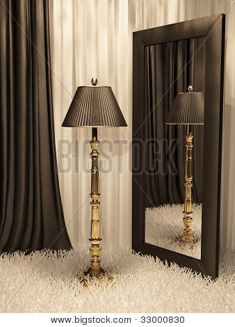 Standard Lamp With Mirror And Carpet In Luxurious Interior