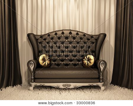 Luxurious leather sofa with pillows on the curtain background.