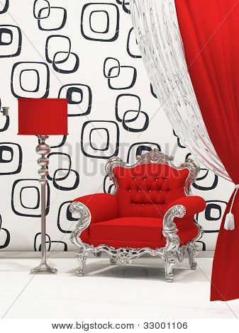 Luxury Armchair With Standard Lamp Isolated On Abstract Wallpaper