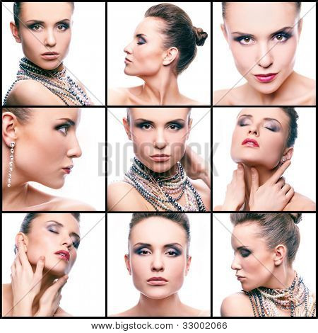 Collage of gorgeous woman with pearl beads and glamorous makeup looking at camera