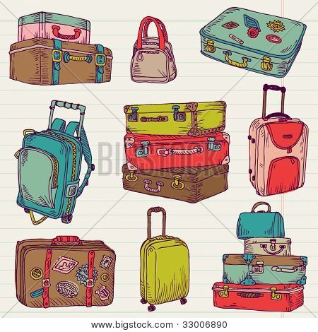 Set of Vintage Colorful Suitcases - for design and scrapbook in vector