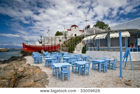 Mykonos Beach Taverna And The Church