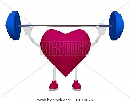 Heart Training Weight Heart Health Sport Concept On White Background
