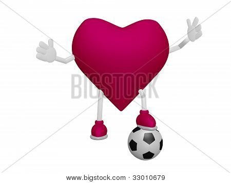 Heart Playing Football Heart Health Sport Concept On White Background