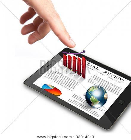 Hand pointing on touch screen device with read graph and earth  (Elements of this image furnished by NASA)
