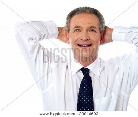 Relaxed Aged Businessman Dreaming