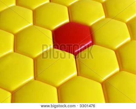 Pattern From Yellow And Red Hexagons