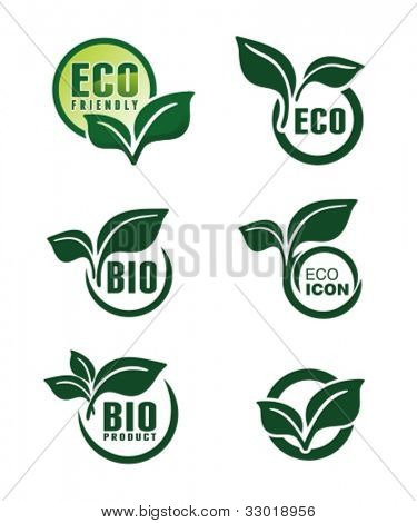 Abstract green banners with leafs. Vector badges and labels set.